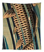 Carp Ascending A Waterfall Tapestry