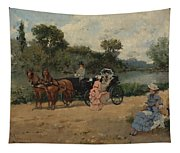 Carriage Ride By The River Tapestry