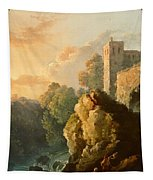 Castle And Waterfall Tapestry