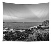Castle Rock Beach Sunset Sunrays Marblehead Ma Black And White Tapestry