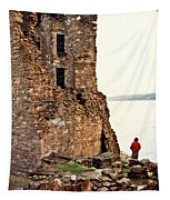 Castle Ruins On The Seashore In Ireland Tapestry