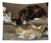 Cat And Kittens Chasing A Mouse   Tapestry