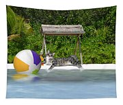 Cat At The Beach Tapestry