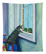 Cat By The Window Tapestry