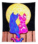 Cat Couple Full Moon Tapestry