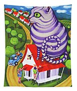 Cat On A Red Tin Roof Tapestry