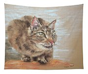 Cat Sitting On Lookout Tapestry