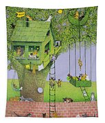 Cat Tree House Tapestry