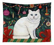 Cat Under The Christmas Tree Tapestry