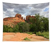 Cathedral Rock With Clouds Tapestry