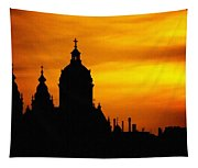 Cathedral Silhouette Sunset Fantasy L B Tapestry