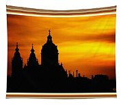 Cathedral Silhouette Sunset Fantasy L B With Decorative Ornate Printed Frame. Tapestry