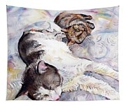 Cats In Watercolor Tapestry