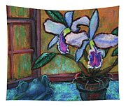Cattleya Orchid And Frog By The Window Tapestry