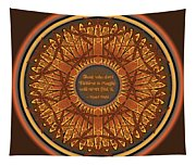 Celtic Dragonfly Mandala In Orange And Brown Tapestry
