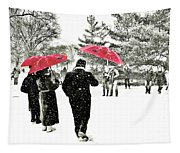 Central Park Snow And Red Umbrellas Tapestry