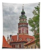 Cesky Krumlov Castle Tower In Cesky Krumlov Of The Czech Republic Tapestry