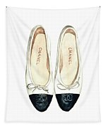 Chanel Ballet Flats Classic Watercolor Fashion Illustration Coco Quotes Vintage Paris Black White Tapestry