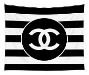 Chanel - Stripe Pattern - Black And White 2 - Fashion And Lifestyle Tapestry