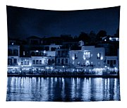 Chania By Night In Blue Tapestry