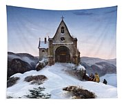 Chapel On A Mountain In Winter Tapestry