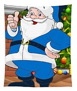 Chargers Santa Claus Tapestry