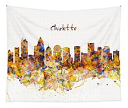Charlotte Watercolor Skyline Tapestry