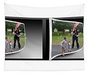 Chasing Bubbles - Gently Cross Your Eyes And Focus On The Middle Image Tapestry