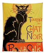 Chat Noir Tapestry by Delphimages Photo Creations