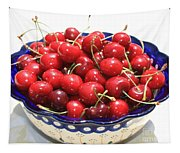 Cherries In Blue Bowl Tapestry