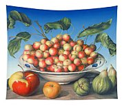 Cherries In Delft Bowl With Red And Yellow Apple Tapestry