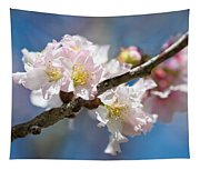 Cherry Blossoms On Blue Tapestry
