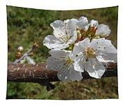 Cherry Tree Blossom White Flower Tapestry