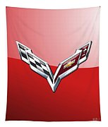 Chevrolet Corvette - 3d Badge On Red Tapestry