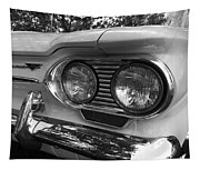 Chevy Corvair Headights And Bumper Black And White Tapestry