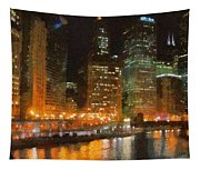 Chicago At Night Tapestry