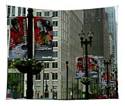 Chicago Blackhawk Flags Tapestry