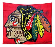 Chicago Blackhawks Hockey Team Vintage Logo Made From Old Recycled Illinois License Plates Red Tapestry