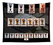 Chicago Bulls Banners Collage Tapestry
