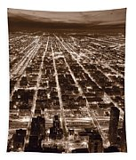 Chicago City Lights West B W Tapestry
