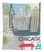 Chicago Cityscape- Art By Linda Woods Tapestry