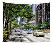 Chicago Hailing A Cab In June Tapestry