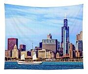 Chicago Il - Schooner Against Chicago Skyline Tapestry