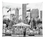 Chicago Nfl Draft Town 2016 Bw Tapestry