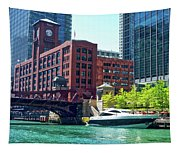 Chicago Parked By The Clark Street Bridge On The River Tapestry