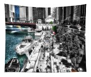 Chicago Parked On The River Walk 03 Sc Tapestry