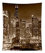 Chicago River City View B And W Tapestry