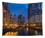 Chicago River Lights Tapestry