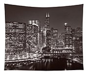 Chicago River Panorama B W Tapestry