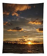 Chicago Skyline Sunset Tapestry